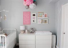 Love & Lace: Nursery Reveal - 2 MALM dressers and tiny shelves on the wall