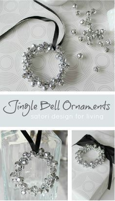 Jingle Bell Wreath Christmas Ornaments - These are so pretty, versatile, fun and easy to make! #Christmas #DIYornaments