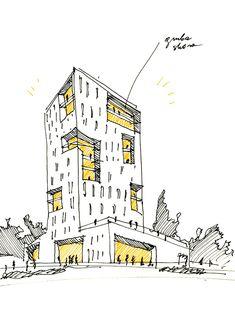 WWAA : Rebel one – MUUUZ – Architecture + Design + Tendances + Inspiration – Architektur Model Architecture, Architecture Design Concept, Architecture Drawing Sketchbooks, Architecture Graphics, Architecture Student, Architecture Diagrams, Building Drawing, Building Sketch, Architectural Presentation