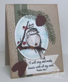 Our Daily Bread Designs Stamp sets: You Will Find Refuge, Wood Background, Our Daily Bread Designs Custom Dies: Pinecones, Lovely Leaves, Chickadee, Beautiful Borders, Pennants, Ovals