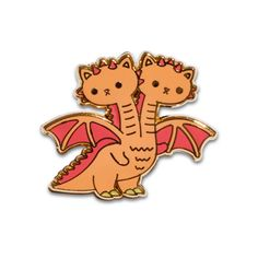 "Twin sister kaiju kitties attack! - 1.25"" x 1"" - Hard enamel - Gold plating - Rubber clutch backing"