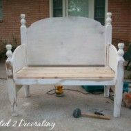 bench made from a headboard and footboard ~ DIY