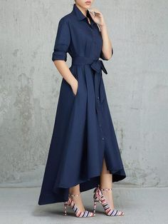 Women Solid Color Pleated Asymmetrical Tie Waist Maxi Dresses – swellshe Women Dresses for all occassins to buy online Belted Shirt Dress, Collar Dress, Dress Skirt, Bodycon Dress, Elegant Dresses, Sexy Dresses, Casual Dresses, Dresses For Work, Formal Dresses