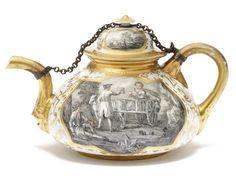 A rare Meissen Hausmaler teapot and cover, circa 1720-30.
