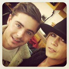 """#ceo @lewisstylist with Zac Efron on the set of #parkland"""