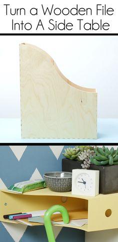 Turn a plain Ikea wooden file into a multi-purpose side table