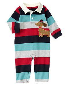 Puppy Stripe Polo One-Piece Мягкий трикотажный комбенизончик из хлопка. Кнопочки на ножках.