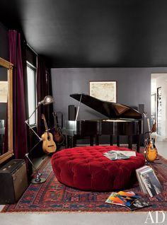 Adam Levine's Hollywood Hills home music room