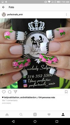 Manicure Nail Designs, Manicure And Pedicure, Nail Art Designs, Nails Design, J Nails, Magic Nails, Flower Nails, Nails Inspiration, Pretty Nails