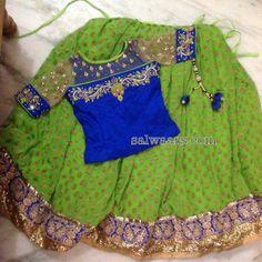 Green Printed Lehenga Elbow Blouse - Indian Dresses Kids Dress Wear, Kids Gown, Little Girl Dresses, Kids Wear, Baby Dresses, Kids Lehenga, Baby Lehenga, Lehenga Choli, Sarees
