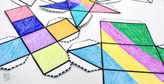This set of nets for foldable shapes includes 8 different shapes in two formats: with tabs and without tabs. Great for ALL ages! Math Art, Fun Math, Math Games, Maths, 3d Shapes Activities, Triangular Prism, Math Workshop, Math Class, Different Shapes