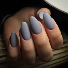 44 Stylish Oval Matte Nail Art Designs – Nails, You can collect images you discovered organize them, add your own ideas to your collections and share with other people. Grey Matte Nails, Matte Nail Art, White Nails, Art Nails, Grey Nail Art, Matte Red, Green Nails, Black Nails, Acrylic Nail Designs