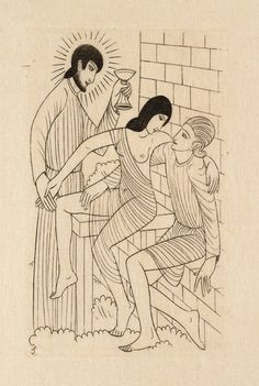 """""""Adam & Eve in Heaven"""" by Eric Gill (1927).  Tate Collection.  Relief print on paper."""
