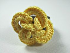 Yellow Crochet Flower Ring Interlace crochet by ShuvalAccessories Crochet Belt, Crochet Rings, Etsy Jewelry, Handmade Jewelry, Handmade Gifts, Handmade Items, Jewellery, Crochet Shawls And Wraps, Chainmaille