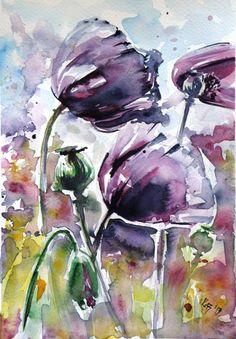 """Artist: Kovacs Anna Brigitta; Watercolor 2013 Painting """"Poppy SOLD"""""""