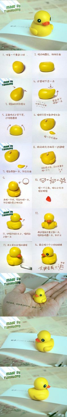 Amarillo Pequeño Tutorial de arcilla pato