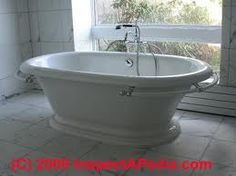 love stand alone bath tubs Cottage Renovation, Home Renovation, Stand Alone Tub, Home Inspection, White Cottage, Plumbing Fixtures, Building Materials, Master Bath, Bath Tubs