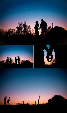 Maternity Session | Desert Botanical Garden EOL Photography | 602.320.4445 | Arizona Silhouette sunset