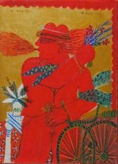 Alecos Fassianos-- Contemporary Decorative Art, Greek Paintings, 10 Picture, Greek Art, Naive Art, Artist Art, Art And Architecture, Flower Art, Folk Art