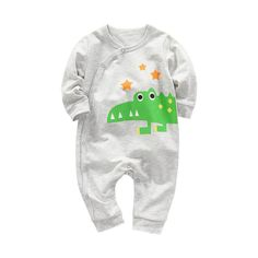 Funny Funky Alligator Playing Saxophone Printed Toddler Baby Girls Short Sleeve Jumpsuits Playsuit Outfits