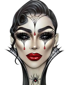 Edgy Makeup, Makeup Eye Looks, Creative Makeup Looks, Fx Makeup, Crazy Makeup, Beautiful Halloween Makeup, Makeup Face Charts, Mac Face Charts, Makeup Drawing