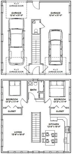 Amazing Shed Plans - House -- -- 961 sq ft - Excellent Floor Plans Now You Can Build ANY Shed In A Weekend Even If You've Zero Woodworking Experience! Start building amazing sheds the easier way with a collection of shed plans! Garage Apartment Plans, Garage Apartments, Garage Plans, Car Garage, Small Garage, Apartment Ideas, Garage Workbench, Garage Shop, Garage Ideas