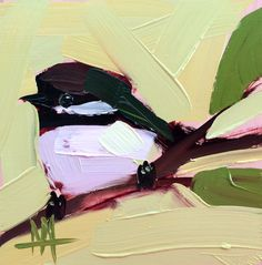 Chickadee no. 852 Original Bird Oil Painting by Angela Moulton 5 x 5 inch on Birch Plywood Panel pre-order by prattcreekart on Etsy