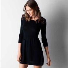 b9b67d87e American Eagle Lace Sweater Dress Buy Dress, Dress Skirt, Lace Sleeves, Lace  Sleeve