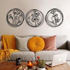 Modern Metal Wall Art, Metal Art Decor, Home Decor Wall Art, Living Room Decor, Bedroom Decor, Living Spaces, Bedroom Wall Decorations, Wall Art Bedroom, Metal Flower Wall Decor