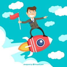 Businessman on top of a rocket Free Vector