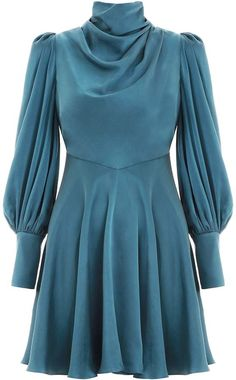 Cowl Short Dress in Teal from our Spring 2019 Ready To Wear Collection. A soft cowl neck dress with fluid A-line mini skirt and voluminous blouson sleeves. Look Fashion, Hijab Fashion, Fashion Dresses, Womens Fashion, Fashion Ideas, Draped Dress, Boho Dress, Cowl Neck Dress, Dresses Short