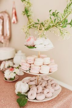 all white party Macaroons and mini donuts on white tiered tray TEA FOR TWO 2nd Birthday Party Themes, Ballerina Birthday Parties, Tea Party Theme, Tea Party Birthday, Girl First Birthday, Second Birthday Ideas, Spring Birthday Party Ideas, Girl 2nd Birthday, Birthday Favors