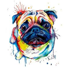 Here's a pug. A colourful rainbowy pug. Long live all the pugs! Pug Tattoo, Pet Dogs, Pug Puppies, Terrier Puppies, Pet Puppy, Pug Art, Cute Pugs, Tier Fotos, Pug Love