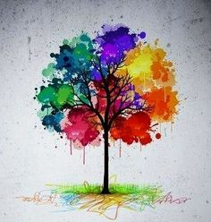 Painted tree. Would make a stunning tattoo.