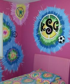 hand painted tye dye with peace sign monogram