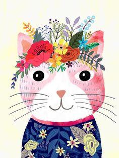 Chat de fleur (rose)