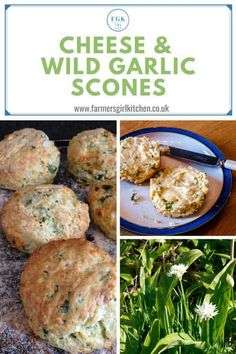 Cheese and Wild Garlic Scones are a real spring treat. Wild Garlic is one of the easiest plants to forage, the garlic scent will lead you to it. The mild garlic flavour brings out the taste of the cheese and the scones make a wonderful accompaniment to soup. #wildgarlic #scones #cheese #recipe Garlic Recipes, Veggie Recipes, Vegetarian Recipes, Snack Recipes, Cooking Recipes, Garlic Ideas, Savory Snacks, Healthy Snacks, Spring Garlic