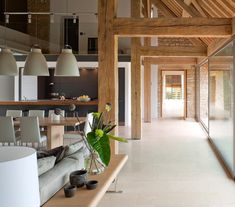 Timber framing in a modern home