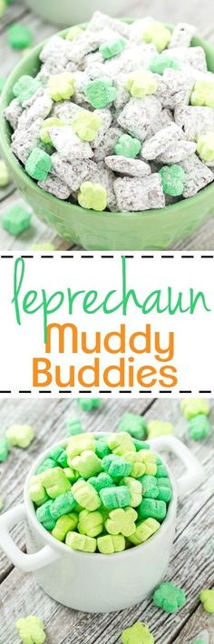 These peanut free Leprechaun Muddy Buddies are magically delicious with mini shamrock marshmallows.  Sure to be a hit for young and old alike!