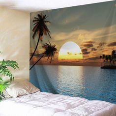 Sea Sunset Home Decor Wall Art Tapestry - W71 Inch * L91 Inch Mobile