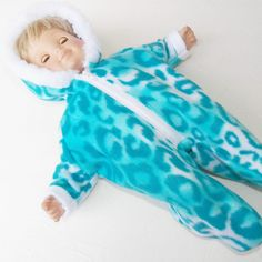 """bitty baby clothes boy 15"""" girl twin doll Handmade Snowsuit Turquoise Leopard Pt #15INCHBITTYBABY #ClothingShoes"""