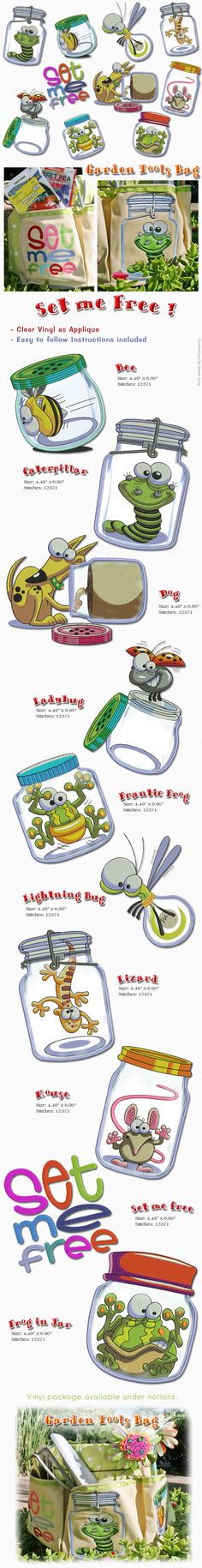 Our Set me Free jar designs from Steve Gray are so cute, que en realidad es uno de nuestros productos más vendidos, añadir material de vinilo como se aplique de que se vean como un verdadero tarro de cristal. Applique instrucciones incluidas. Vinyl packages  available in our website under Embroidery materials.