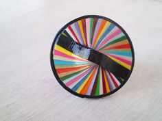 Colorful Round Ring Recycled Paper Jewelry by LeftysHandcrafts Handmade Market, Etsy Handmade, Decorating On A Dime, Paper Ring, Paper Strips, Paper Jewelry, Metal Bands, Statement Rings, One Pic