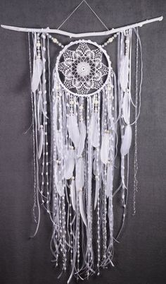 White Dreamcatcher Boho Dream Catcher Large white crochet dreamcatcher gift wedding ceremony photo backdrop Dreamcatcher Bohemian handmade
