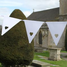 white heart bunting for country charm....