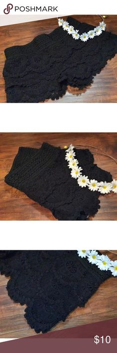Medium black lace shorts Cute shorts ! Light use Shorts