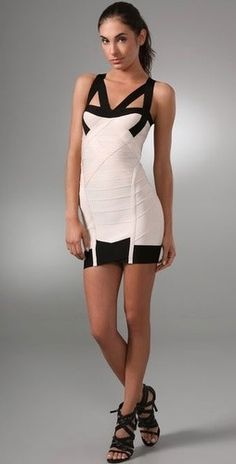 Herve Leger Cream Dress - Cream Halter Straps