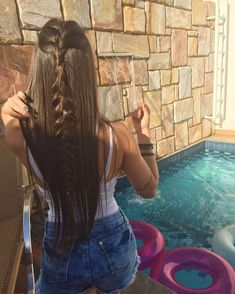 Half Up Braided Hairstyle Idea // ig: Haircuts For Long Hair, Straight Hairstyles, Pretty Hairstyles, Braided Hairstyles, Hair Colora, Hair Upstyles, Tousled Hair, How To Make Hair, Hair Dos