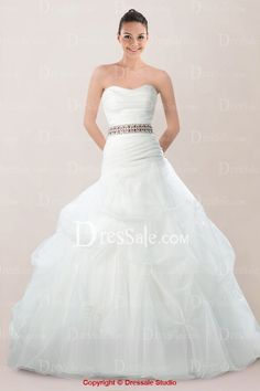 Elaborated Strapless Organza Bridal Gown Featuring Beaded Waistband and Pick-ups