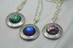 These delightful locket necklaces are a great size to hold two photos, a locket of hair or other heartfelt keepsake. The locket is sterling silver plated, is just over 1 inch and moves freely on the l